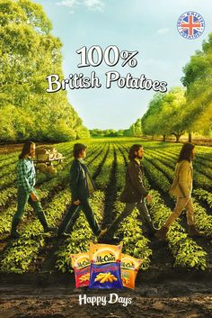 Abbey Road - McCain's potato crisps in the UK. Whoever okayed this poster? McCain is releasing an outdoor and print campaign that spoofs one of the most iconic images in British music history. The ads, created by BMB, show four farmers striding across a potato field in a scene reminiscent of The Beatles' Abbey Road cover. The work stresses that McCain uses only British potatoes.