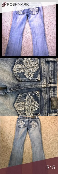 ZCO studded cross jeans Studded jeans with crosses on back pockets worn once. ZCO Jeans Boot Cut