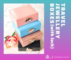 Keep your treasures organised and secure in Kazzi Kovers hard-case travel jewellery box (with lock). With several compartments and plenty of space, you'll have enough room for all your essentials. Ideal for home or travel purposes.  Colours: Black | Blue | Pink | Mauve