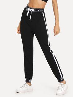 Pantalones deportivos de rayas con cinta con estampado de letras -Spanish SheIn(Sheinside) Basic Outfits, Stylish Outfits, Cute Outfits, Kawaii Fashion, Cute Fashion, Fashion Outfits, Joggers, Sweatpants, Running Leggings
