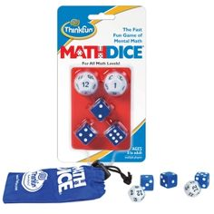 The Fast, Fun Game of Mental #Maths. Roll the two 12-sided target dice and multiply them to get a target number. Roll the three scoring dice and combine these numbers using addition, subtraction, multiplication, division, or even powers to build an equation that is closest, or equal to, the target.
