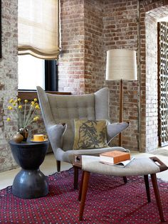 MidCentury Modern Furniture | Living Room | Industrial Interior | Brick Wall | Architecture Design | Home Idea