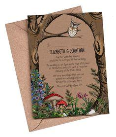 Wedding Invitation, woodland wedding, rustic invitation, forest toadstool wedding, country wedding, vintage wedding, recycled kraft card