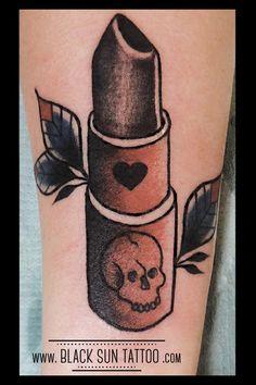 Tattoo by Black Sun Tattoo , Warsaw , Poland Black Lipstick, Lipstick Colors, Word Tattoos, Tatoos, Black Sun Tattoo, Lipstick Tattoos, Warsaw Poland, Traditional Tattoo, I Tattoo