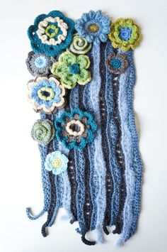 Vintage Inspired Flower Fall - Freeform Art Piece / Crochet Wall Hanging / Freeform Crochet Art