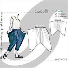 S-XL/ Harem Sarouel Afghan Pants with Side-Drapes/ Digital Sewing PDF-pattern for Women , A pattern for Harem-style Pants with Side Drapes - easy and comfortable lounge pants - incredibly versatile and the perfect beginner project. Sarouel Pants, Trousers, Romper Pants, Harem Pants Pattern, Yoga Mode, Body Measurement Chart, Creation Couture, Pdf Sewing Patterns, Lounge Pants