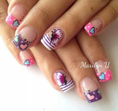 Striped Nails for Valentines Cute Nail Art, Gel Nail Art, Acrylic Nails, Love Nails, Pretty Nails, My Nails, Beautiful Nail Designs, Beautiful Nail Art, Striped Nails