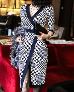 Vintage V-Neck 3/4 Sleeves Houndstooth Slit Dress For Women