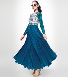 #Sea #Blue #Pure #Crepe & #Georgette #Printed #Semi #Stitched #Anarkali With #Dupatta at #Indianroots