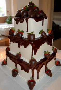 Chocolate dipped strawberries cake