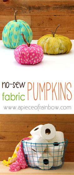 How to re-purpose toilet paper into glorious fall pumpkin decorations in just minutes! These pumpkins are no cost, no waste, and they need no storage! - A Piece Of Rainbow