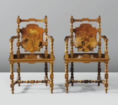 "Emile Galle' (1846-1904) - Pair Of Elm Armchairs With Fruitwood Marquetry Inlay, Signed And Inscribed ""Exposition 1889"""