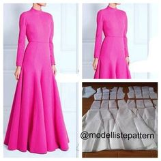 Neon pink gamis pattern 😍 Order by line : (with Circle Skirt Pattern, Pattern Draping, Modest Dresses, Trendy Dresses, Fashion Dresses, Fashion Design Books, Dress Brokat, Vintage Street Fashion, Blog Couture