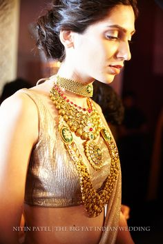 classic handmade Indian necklaces| backstage at Shree Raj Mahal Indian Jewelry | India Couture Week 2014