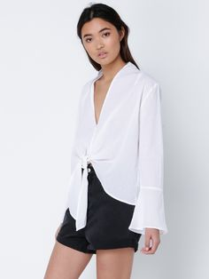 Mirabel Tie Front Top in Off White
