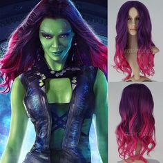 Movie Guardians of the Galaxy Gamora Wig Long Wavy Gradient Anime Cosplay Wig #Missuhair #FullWig