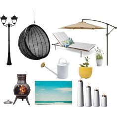 Outdoor setup by overdose-onstyle on Polyvore featuring polyvore, interior, interiors, interior design, home, home decor, interior decorating, Gama Sonic, Menu, La Hacienda, Sur La Table, Pillow Perfect, Dot & Bo, outdoors, ideas and overdoseonstyle