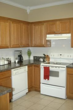 Kitchen Ideas Oak subway tile backsplash with oak cabinets - google search | kitchen