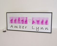 ASL Alphabet Names Sign Language Custom Order - Baby Gift - Children's Art.