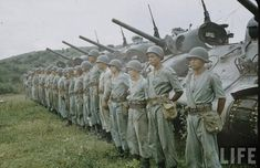 Brazilian M4 Sherman tanks and their crews, Italian front, date unknown. Original color.
