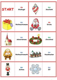 Spiele im Deutschunterricht: Domino - Weihnachten & Silvester Christmas Cards Drawing, New Years Eve Games, German Language, Holiday Decor, Blog, Teaching Ideas, Germany, Learn German, Languages