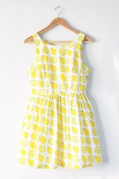 【Back in Stock】Lemon Prints Cute Retro Sundress