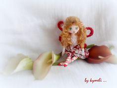 'Abella' little flower fairy OOAK Art Doll by kymeli Soft Dolls, Tinkerbell, Fairy, Christmas Ornaments, Holiday Decor, Flowers, Handmade, Crafts, Hand Made