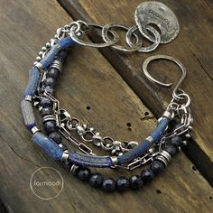 Bracelet raw sterling silver sapphire antique by studioformood