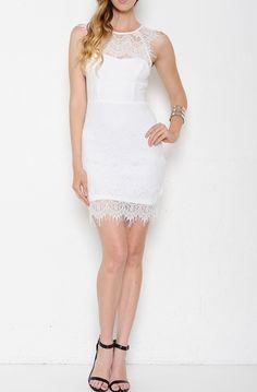 White Lace Overlay Sleeveless Dress | USTrendy