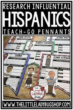 Celebrate Hispanic Heritage Month with some wonderful research templates. Students will love learning about these influential Latin Leaders. Many include Cesar Chavez, Sonia Sotomayor, Selena, Roberto Clemente and more. Perfect Hispanic Heritage Month Bulletin Board research project for students in 3rd grade, 4th grade, 5th grade and home school classroom. #hispanicheritagemonth #latinresearch #hispanicheritaheirtagemonthbulletin