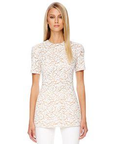 White Shirting ~ Michael Kors Short-Sleeve Lace Top