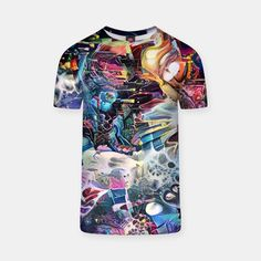 Artistic sci-fi all-over-print artistic tee shirt.