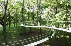 A path in the forest - An installation in an Estonian forest by Tetsuo Kondo. Path Design, Bridge Design, Urban Landscape, Landscape Design, Forest Path, Pedestrian Bridge, Parking Design, Urban Furniture, In The Tree