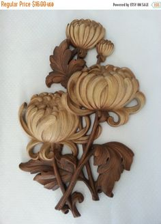 30% Off Spring Sale - Vintage Mid Century Syroco Chrysanthemum Flowers, Hollywood Regency Decor
