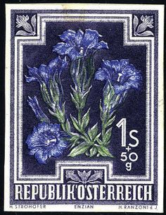 Austria 2nd. Republic 1948, Heimische flowers, 1 Shilling + 50 groat, unperforated proof in others colours on cardboard, the gentian in ultramarine in lieu of pal...