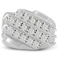 #engagementrings #weddingbands Men's 1 1/4ct Diamond Ring In 14K White Gold, I-J-K, I1-I2: Men's diamond ring, great for a… #diamondrings