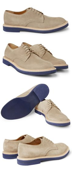 Gucci Contrast Sole Suede Derby Shoes
