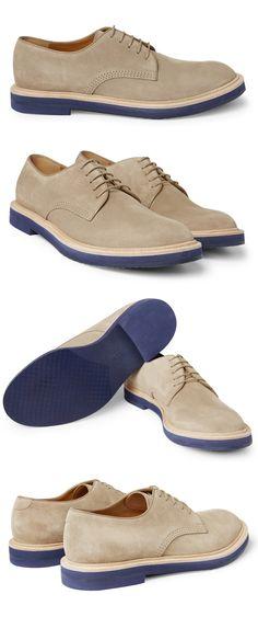 Gucci Contrast Sole Suede Derby Shoes