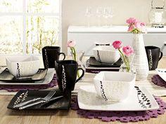 Geschirr modernen Haushalt rechteckig schwarz-weiß