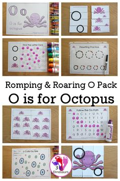 Free Romping & Roaring O Pack: Letter O is for Octopus - a letter O pack that has prewriting, finding letters, tracing letters, coloring pages, shapes, puzzles and more - 3Dinosaurs.com #3dinosaurs #abcprintables #kindergarten #prek #preschool #oceanprintables #freeprintables Dot Letters, Letters For Kids, Tracing Letters, Puzzles For Kids, Letter Maze, Letter Sorting, Kindergarten Learning, Preschool, Letter Find