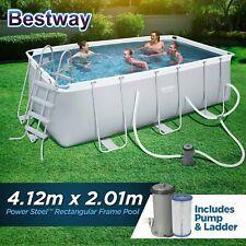 Bestway Above Ground Swimming Pool Rectangular Steel Pro Frame Sand Filter Pump for sale online | eBay