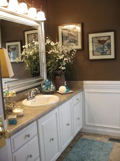 Green and brown bathroom color ideas teal and brown bathroom teal green and brown bathroom colors . green and brown bathroom color ideas Brown Bathroom, Brown Bathroom Decor, White Wainscoting, Bathrooms Remodel, Bathroom Makeover, Bath Decor, Brown Walls, Teal Bathroom Decor, Home Decor