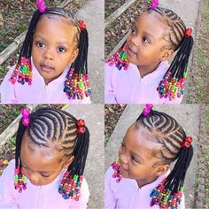 2019 Lovely Stunning Braids for Kids - Naija's Daily Toddler Braided Hairstyles, Lil Girl Hairstyles, Black Kids Hairstyles, Natural Hairstyles For Kids, Little Girl Braids, Black Girl Braids, Braids For Black Hair, Kids Braids With Beads, Braids For Kids