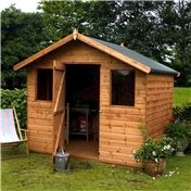 6 x 8 Premier Reverse Wooden Tongue and Groove Apex Garden Shed With Higher Ridge 2 Windows And Single Door (12mm Tongue and Groove Floor and Roof)  48HR  SAT Delivery