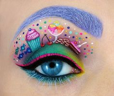 #EyeMakeup #EyeShadow Cute #EyeArt including designs of cup cakes, ice cream, trophies and more. Try such unique things on your eyes for theme parties.