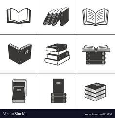 Book icons set vector 1219830 - by vectorinka on VectorStock® Vintage Book Centerpiece, Book Centerpieces, Web Design, Icon Design, Logo Design, Graphic Design, Icons Web, Book Logo, Education Logo