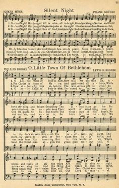 """Christmas Sheet Music - """"Silent Night"""" and """"O Little Town of Bethlehem"""" (Note from previous pinner: printable Christmas music pages) Christmas Sheet Music, Noel Christmas, Christmas Wrapping, Christmas Projects, Antique Christmas, Christmas Ideas, Handmade Christmas, Xmas Music, Christmas Lyrics"""