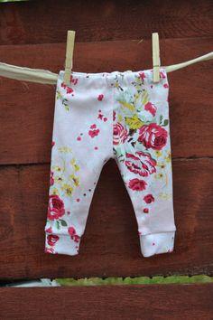 Leggings, baby leggings, girl leggings, floral leggings, light pink, floral print on Etsy, $18.00