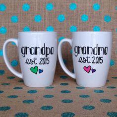 Grandparent Coffee Mug Set  Grandma and Grandpa by Hinzpirations