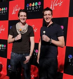 'Harry Potters' James Phelps and Oliver Phelps arrive at Sugar Factory at Paris Las Vegas on March 4, 2012 in Las Vegas, Nevada.